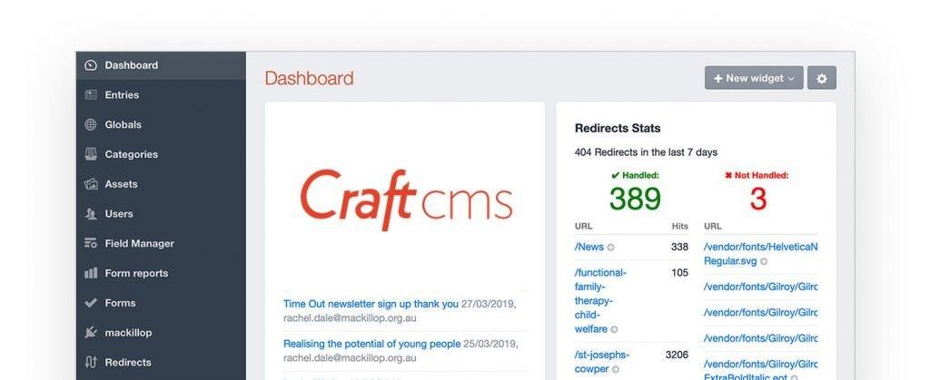 Craft cms dashboard