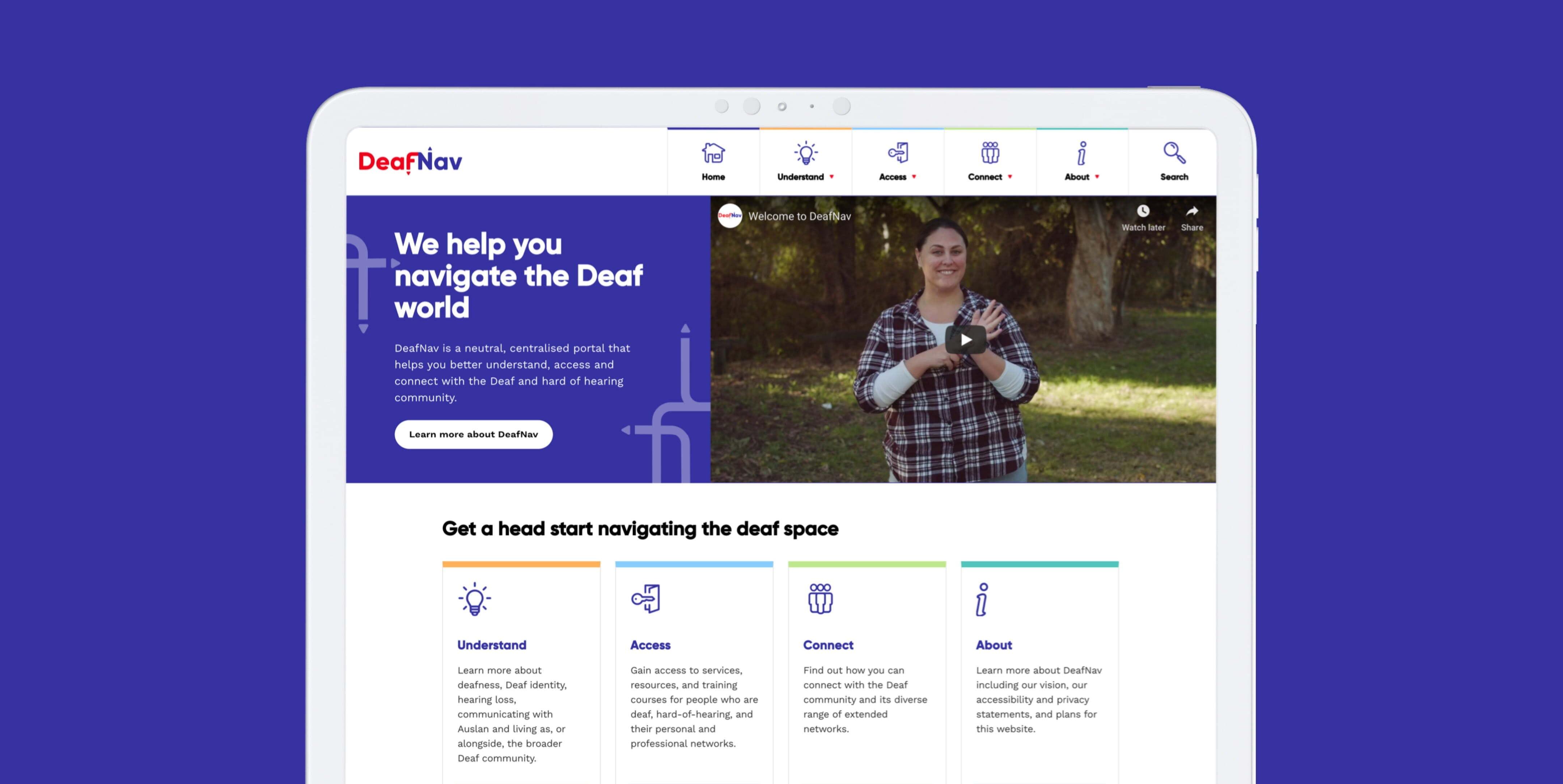 Deafnav Desktop view home page