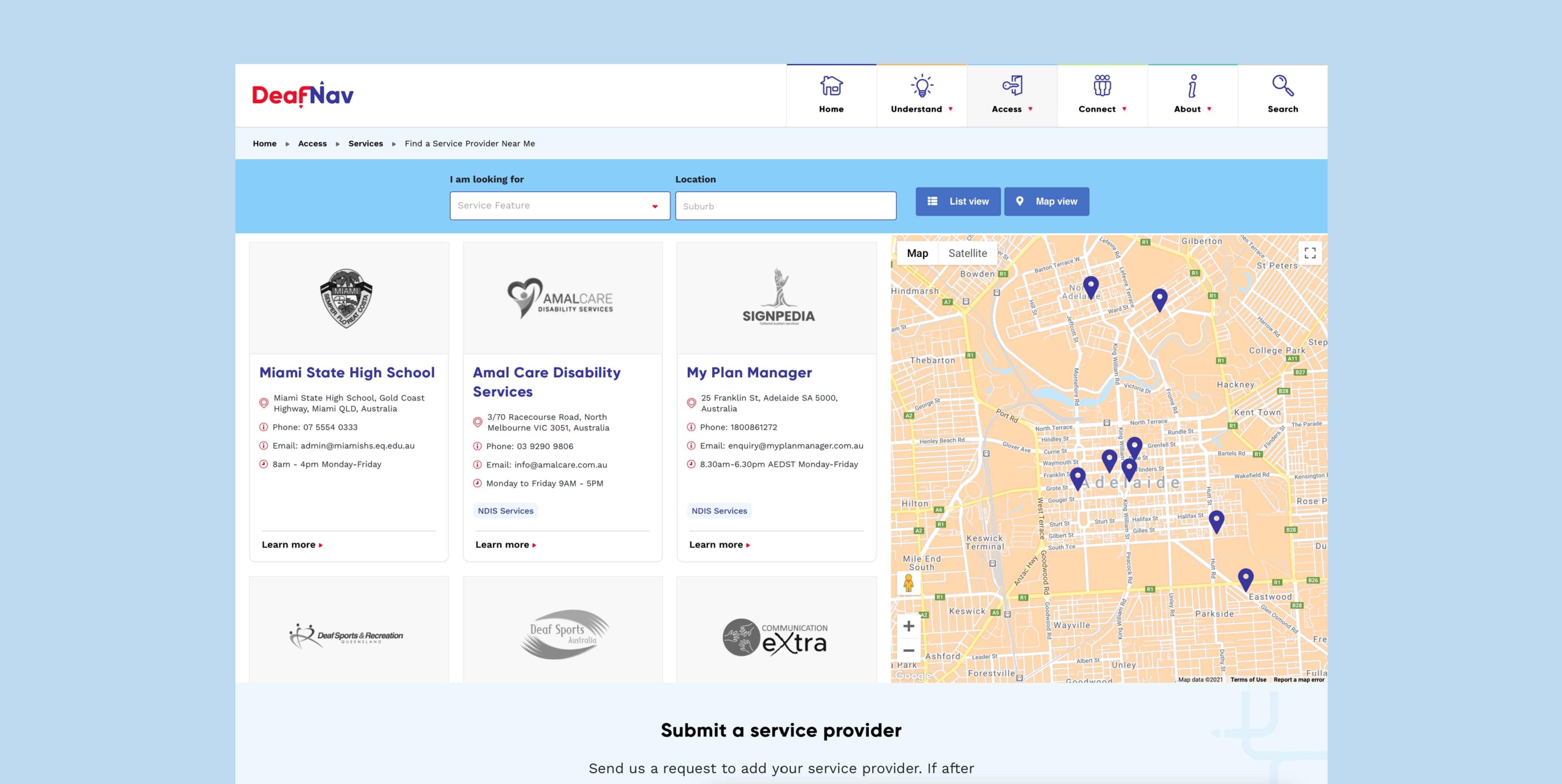 Deafnav service finder page