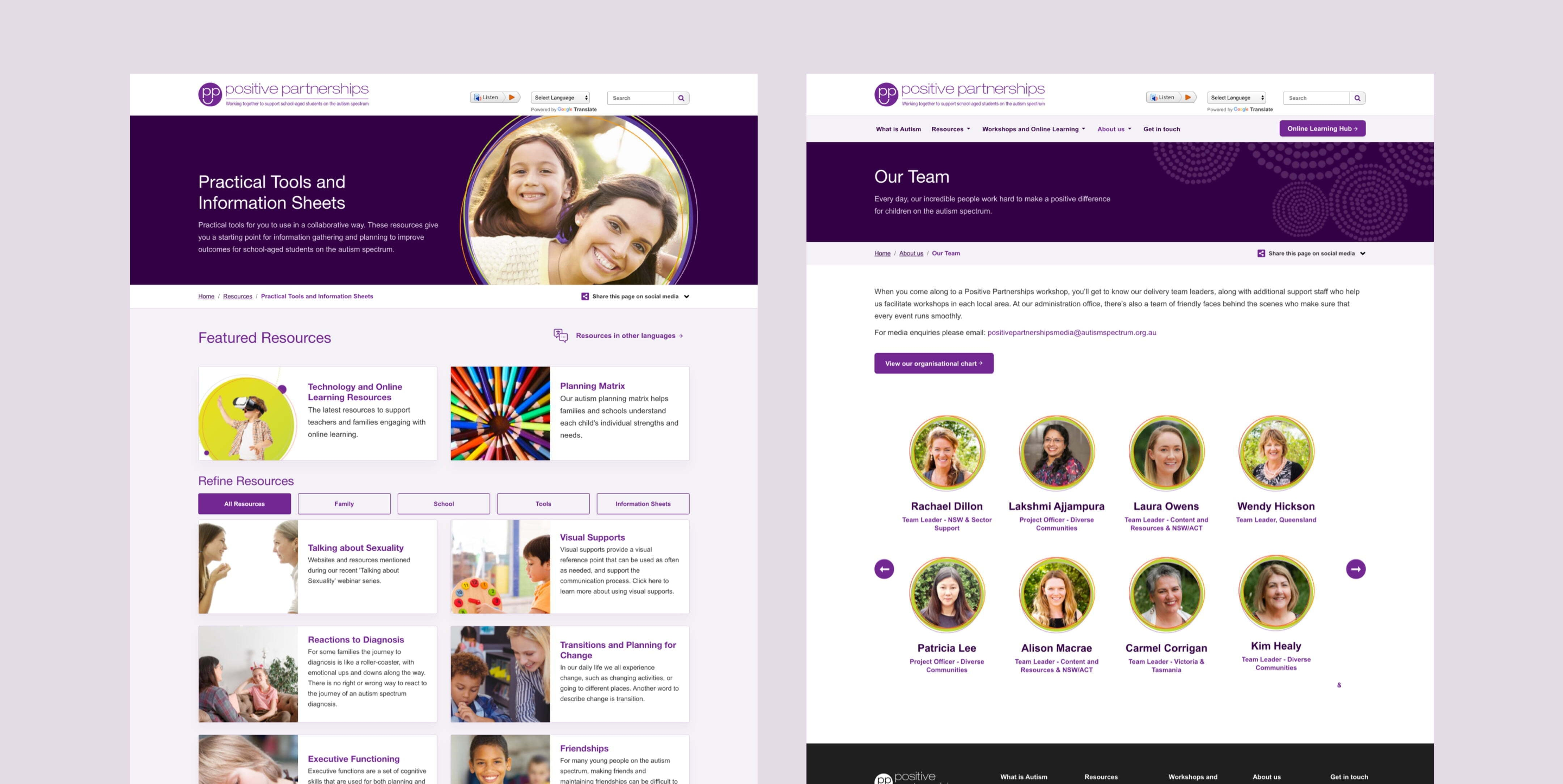 Positive Partnerships team and resources pages